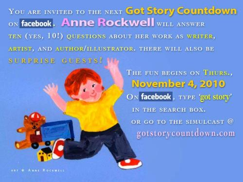 Come to the next Got Story Countdown: An interview with Anne Rockwell