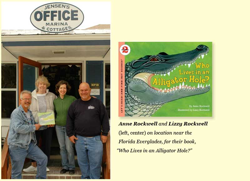 "Anne Rockwell and Lizzy Rockwell (left, center) on location near the Florida Everglades, for their book, ""Who Lives in an Alligator Hole?"""