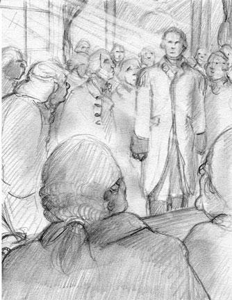 Sketch for carpenter's hall scene