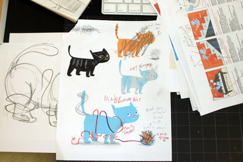 Various character studies of Milo the cat
