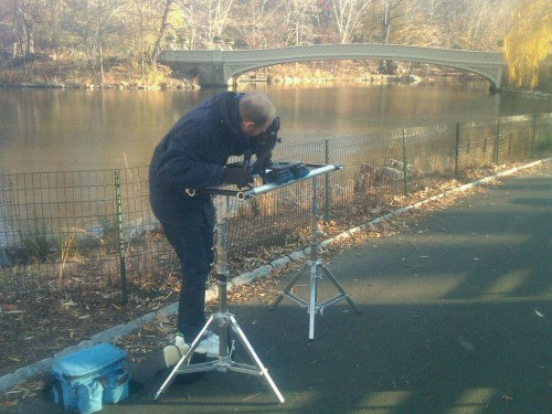 Filming the book trailer for WHERE'S WALRUS in Central Park