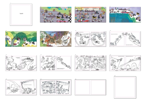 rough storyboard for MINIRACER