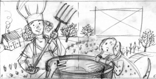 Revised sketch of opening spread