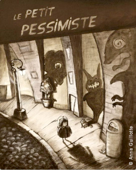 "Anna Guillotte's original illustration, ""Le Petit Pessimiste"""