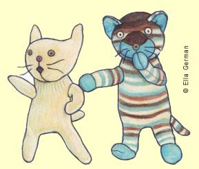 """Pearl and Bear"" , sock kittens created by Ella German"