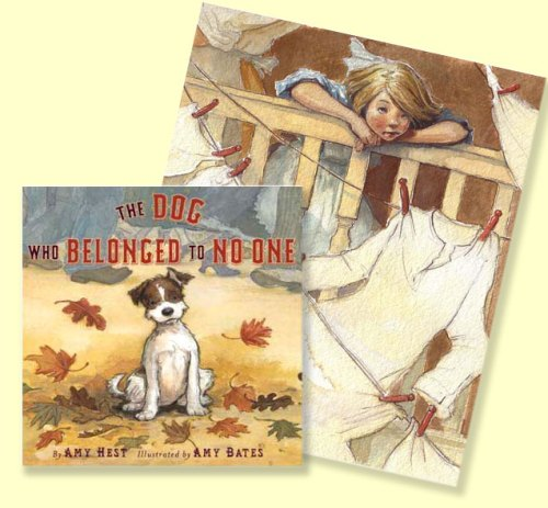 """cover and text illustration from """"The Dog That Belonged to No One"""", by Amy Hest & Amy June Bates"""
