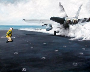 Cat shot (catapult).  FA-18 Hornet launches.