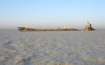 One of many sunken ships in the Kwar River (Kuwait) from the Kueait/Iraq War