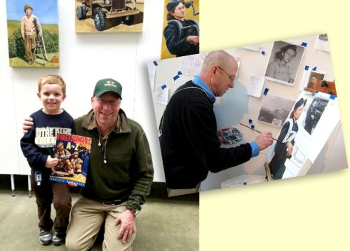 Author-illustrator Chris L. Demarest, at work (right), and with a fan of his book, FIREFIGHTERS A-Z