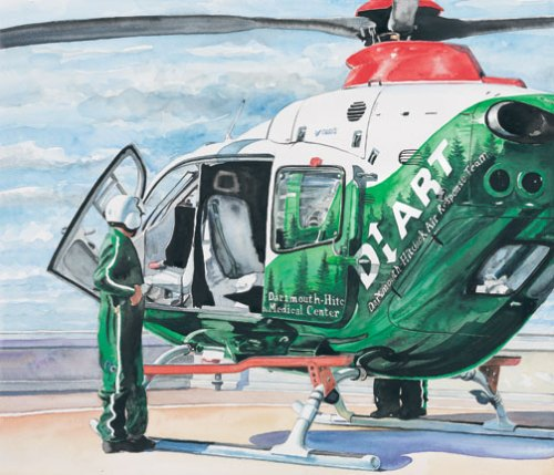 In 2007 he flew over twenty-five missions with DHART, the medical evacuation team out of Dartmouth-Hitchcock Medical Center in Lebanon, NH.  An exhibit chronicling their work followed at the hospital followed by an article he wrote on his experience appeared in their publication Dartmouth Medicine. (http://dartmed.dartmouth.edu/summer08/html/dhart.php)In 2007 he flew over twenty-five missions with DHART, the medical evacuation team out of Dartmouth-Hitchcock Medical Center in Lebanon, NH.  An exhibit chronicling their work followed at the hospital followed by an article he wrote on his experience appeared in their publication Dartmouth Medicine. (http://dartmed.dartmouth.edu/summer08/html/dhart.php)