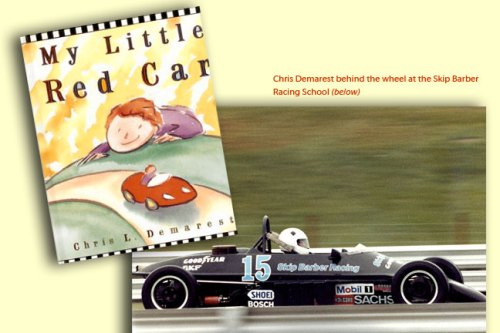 "Chris Demarest training at the Skip Barber Racing School track, plus his book, ""My Little Red Car"""