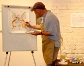 Richard Jesse Watson demonstrates his egg-tempera technique