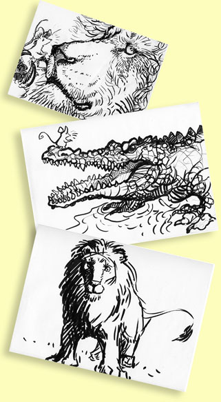 "character sketches for ""The Lion and the Mouse"""