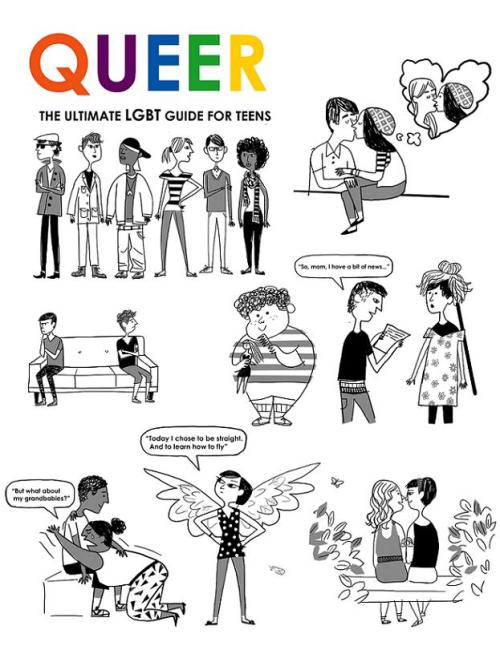 "Black and white illustrations by Christian Robinson from ""Queer: The Ultimate LGBT Guide for Teens"", © 2011 Zest Books"