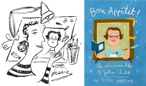"Self-portrait of Jessie Hartland alongside cover of ""Bon Appetit! The Delicious Life of Julia Child"""