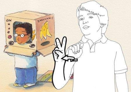Illustration for ASL word entry, T.V.
