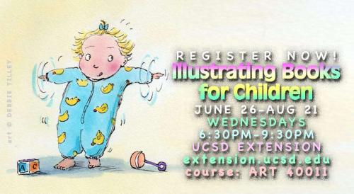 Register NOW for Joy Chu's hands-on workshop, Illustrating Books for Children, Wednesday evenings 6:30-9:30pm, 6/28-8/21/13, extension.ucsd.edu, ART 40011. Immerse yourself!